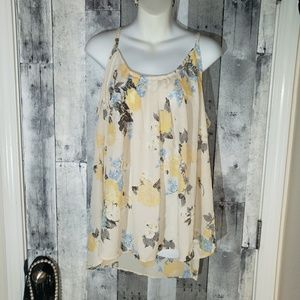 Soft yellow floral tank top criss cross back 1 1x